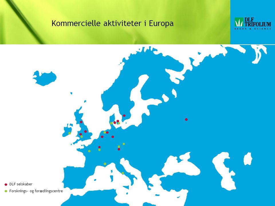 Kommercielle aktiviteter i Europa DLF selskaber Forsknings- og forædlingscentre