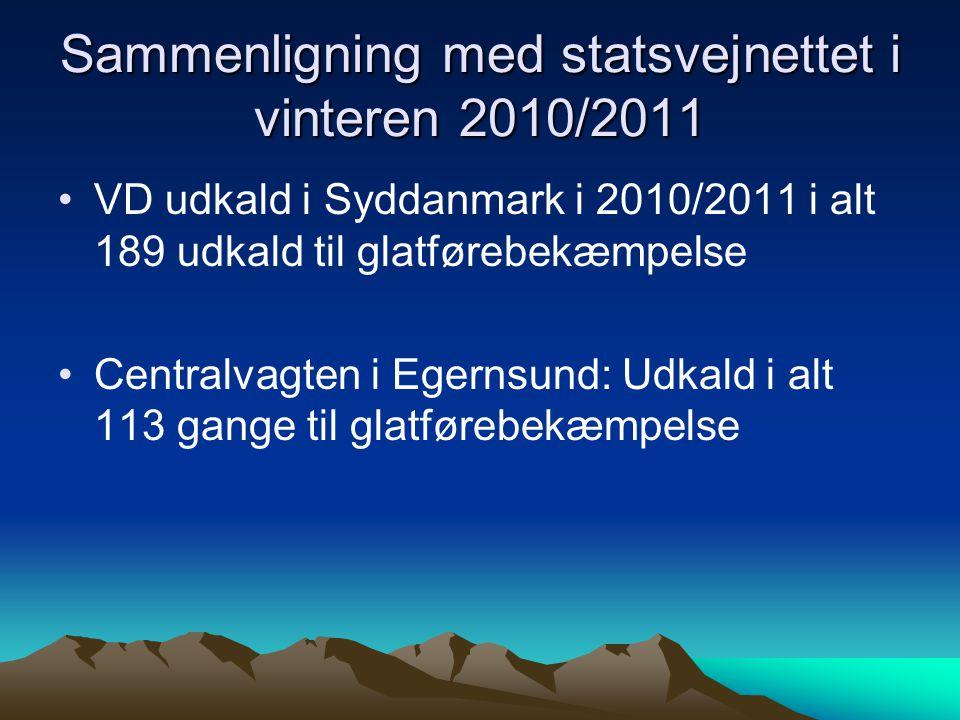 Sammenligning med statsvejnettet i vinteren 2010/2011 VD udkald i Syddanmark i 2010/2011 i alt 189 udkald til glatførebekæmpelse Centralvagten i Egernsund: Udkald i alt 113 gange til glatførebekæmpelse