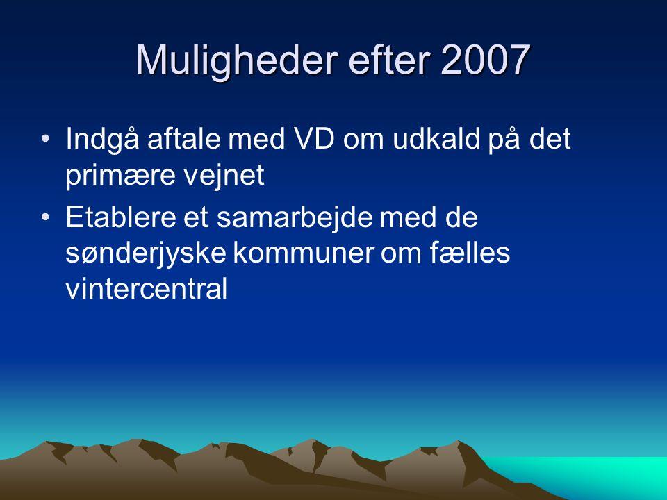 Muligheder efter 2007 Indgå aftale med VD om udkald på det primære vejnet Etablere et samarbejde med de sønderjyske kommuner om fælles vintercentral