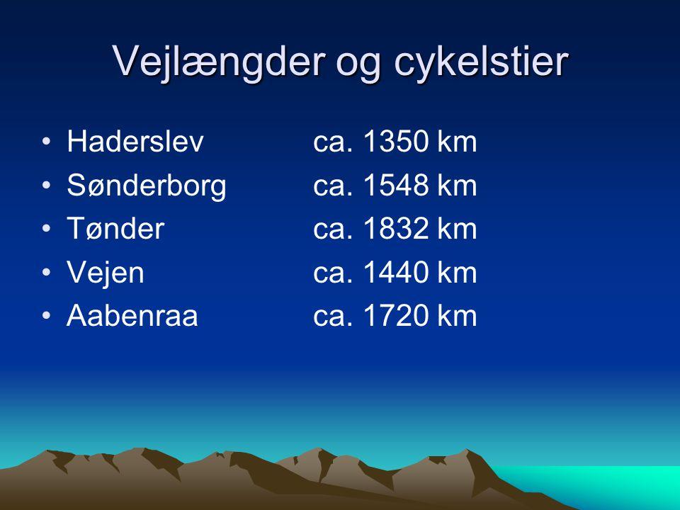Vejlængder og cykelstier Haderslev ca. 1350 km Sønderborgca.