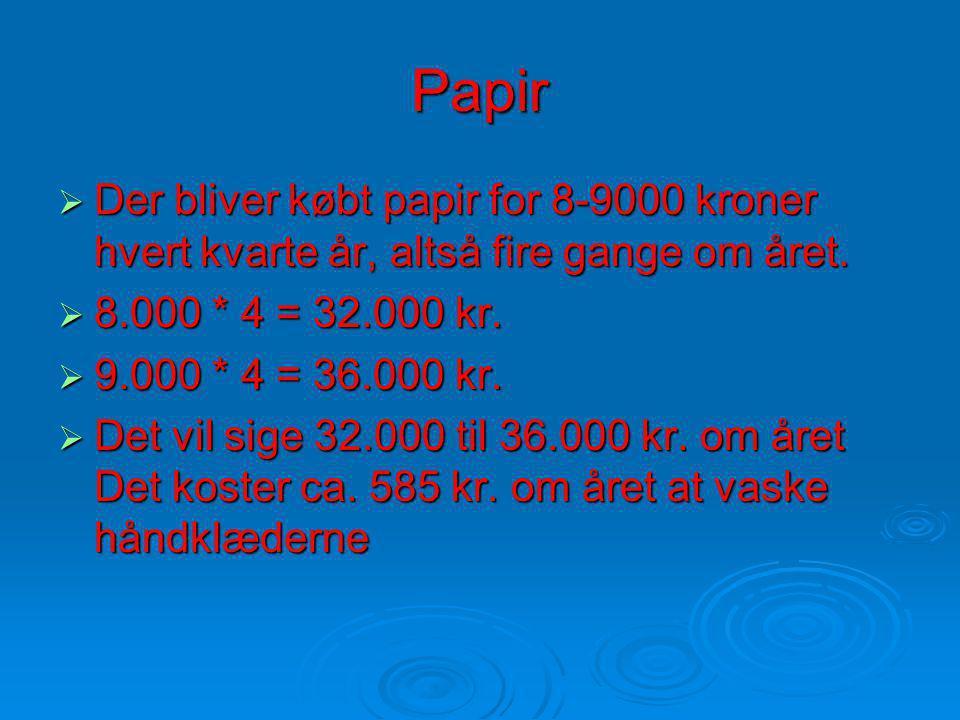 Papir DDDDer bliver købt papir for 8-9000 kroner hvert kvarte år, altså fire gange om året.