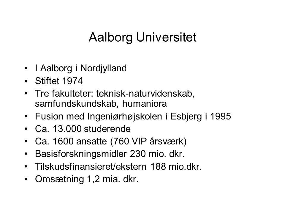 Aalborg Universitet I Aalborg i Nordjylland Stiftet 1974 Tre fakulteter: teknisk-naturvidenskab, samfundskundskab, humaniora Fusion med Ingeniørhøjskolen i Esbjerg i 1995 Ca.