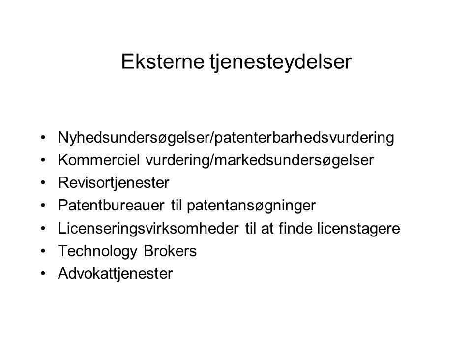 Eksterne tjenesteydelser Nyhedsundersøgelser/patenterbarhedsvurdering Kommerciel vurdering/markedsundersøgelser Revisortjenester Patentbureauer til patentansøgninger Licenseringsvirksomheder til at finde licenstagere Technology Brokers Advokattjenester