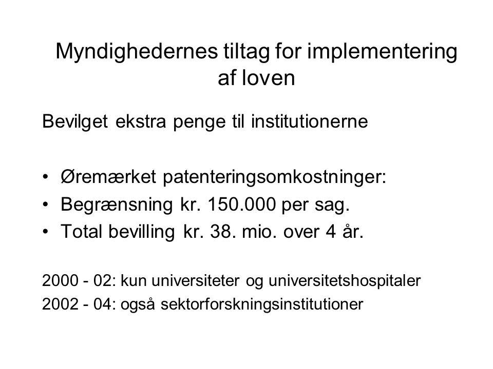 Myndighedernes tiltag for implementering af loven Bevilget ekstra penge til institutionerne Øremærket patenteringsomkostninger: Begrænsning kr.