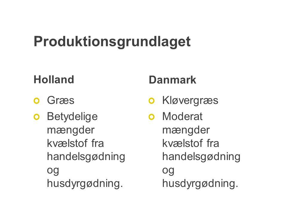 Produktionsgrundlaget Holland Græs Betydelige mængder kvælstof fra handelsgødning og husdyrgødning.