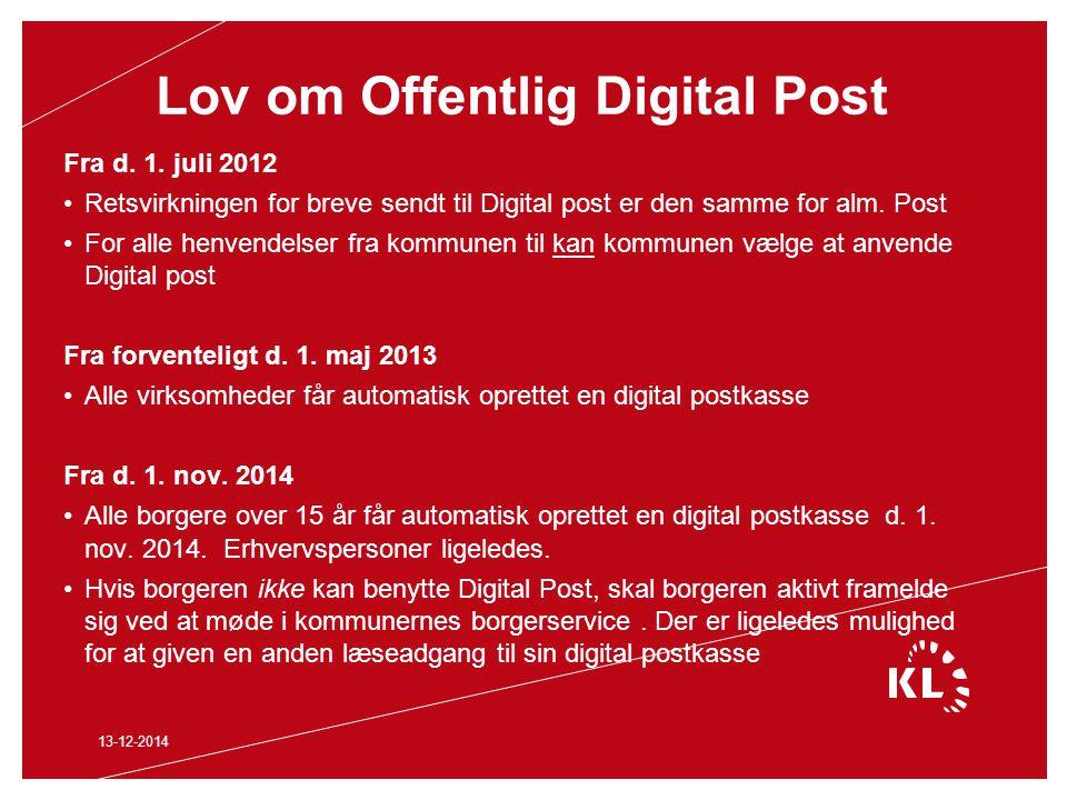 Lov om Offentlig Digital Post Fra d. 1.