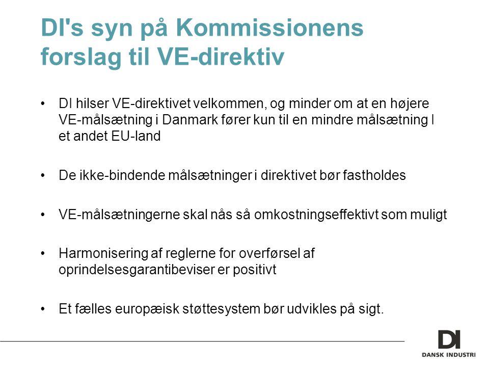 DI s syn på Kommissionens forslag til VE-direktiv DI hilser VE-direktivet velkommen, og minder om at en højere VE-målsætning i Danmark fører kun til en mindre målsætning I et andet EU-land De ikke-bindende målsætninger i direktivet bør fastholdes VE-målsætningerne skal nås så omkostningseffektivt som muligt Harmonisering af reglerne for overførsel af oprindelsesgarantibeviser er positivt Et fælles europæisk støttesystem bør udvikles på sigt.