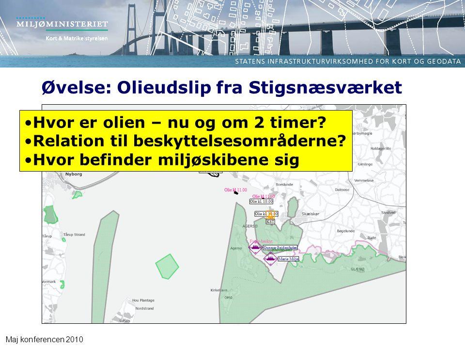 Maj konferencen 2010 Øvelse: Olieudslip fra Stigsnæsværket Hvor er olien – nu og om 2 timer.