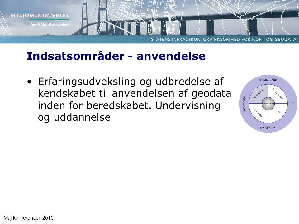 Maj konferencen 2010 Indsatsområder - anvendelse Erfaringsudveksling og udbredelse af kendskabet til anvendelsen af geodata inden for beredskabet.