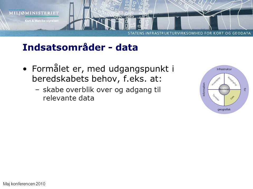 Maj konferencen 2010 Indsatsområder - data Formålet er, med udgangspunkt i beredskabets behov, f.eks.