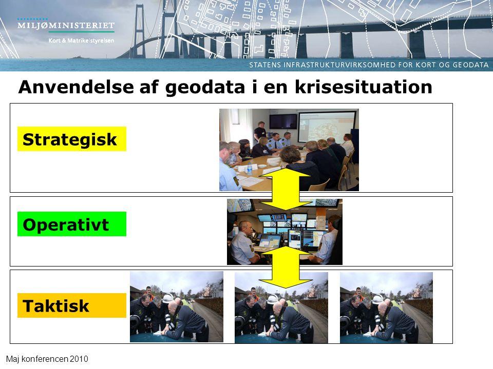 Maj konferencen 2010 Anvendelse af geodata i en krisesituation Taktisk Operativt Strategisk
