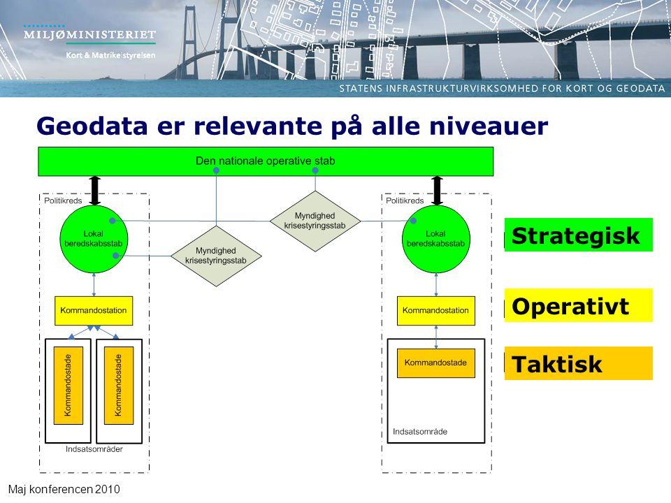 Maj konferencen 2010 Geodata er relevante på alle niveauer Taktisk Operativt Strategisk