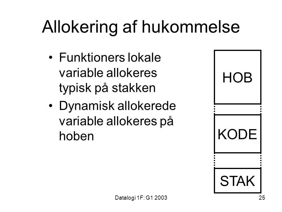 Datalogi 1F: G1 200325 Allokering af hukommelse Funktioners lokale variable allokeres typisk på stakken Dynamisk allokerede variable allokeres på hoben HOB KODE STAK