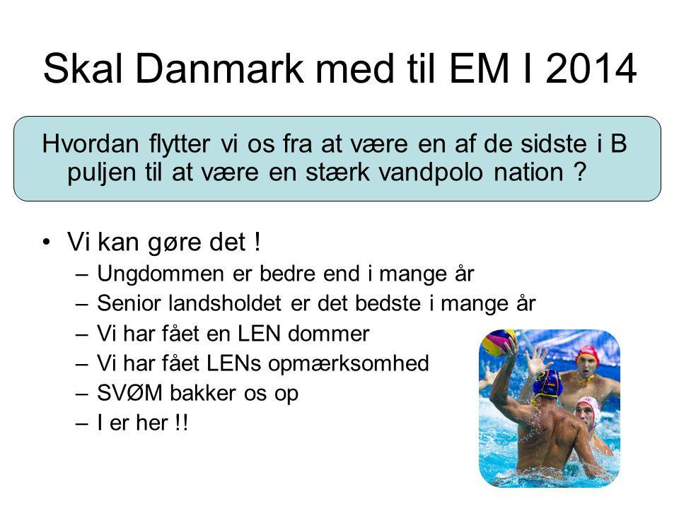 Skal Danmark med til EM I 2014 Hvordan flytter vi os fra at være en af de sidste i B puljen til at være en stærk vandpolo nation ? Vi kan gøre det ! –