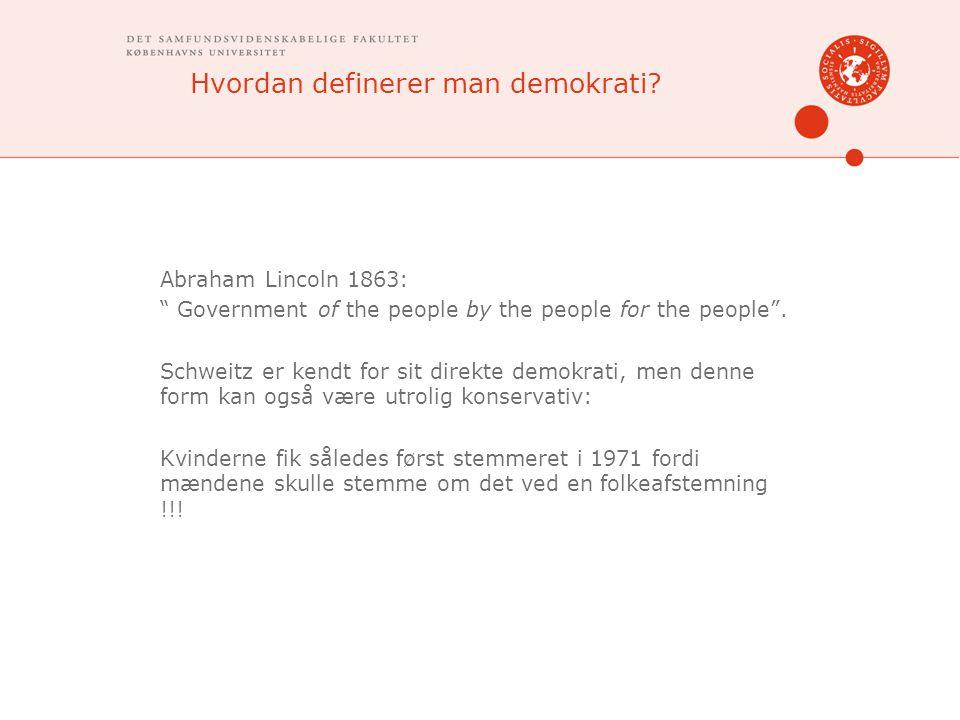 Hvordan definerer man demokrati.