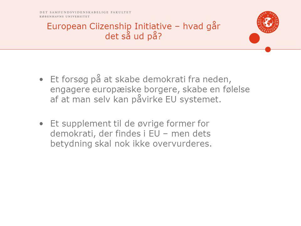 European Ciizenship Initiative – hvad går det så ud på.