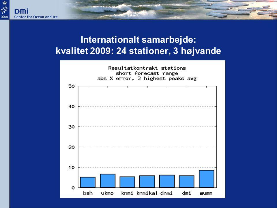 Internationalt samarbejde: kvalitet 2009: 24 stationer, 3 højvande