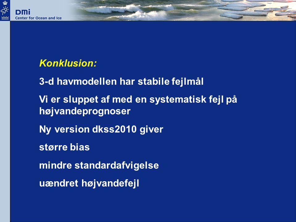 Konklusion: 3-d havmodellen har stabile fejlmål Vi er sluppet af med en systematisk fejl på højvandeprognoser Ny version dkss2010 giver større bias mindre standardafvigelse uændret højvandefejl