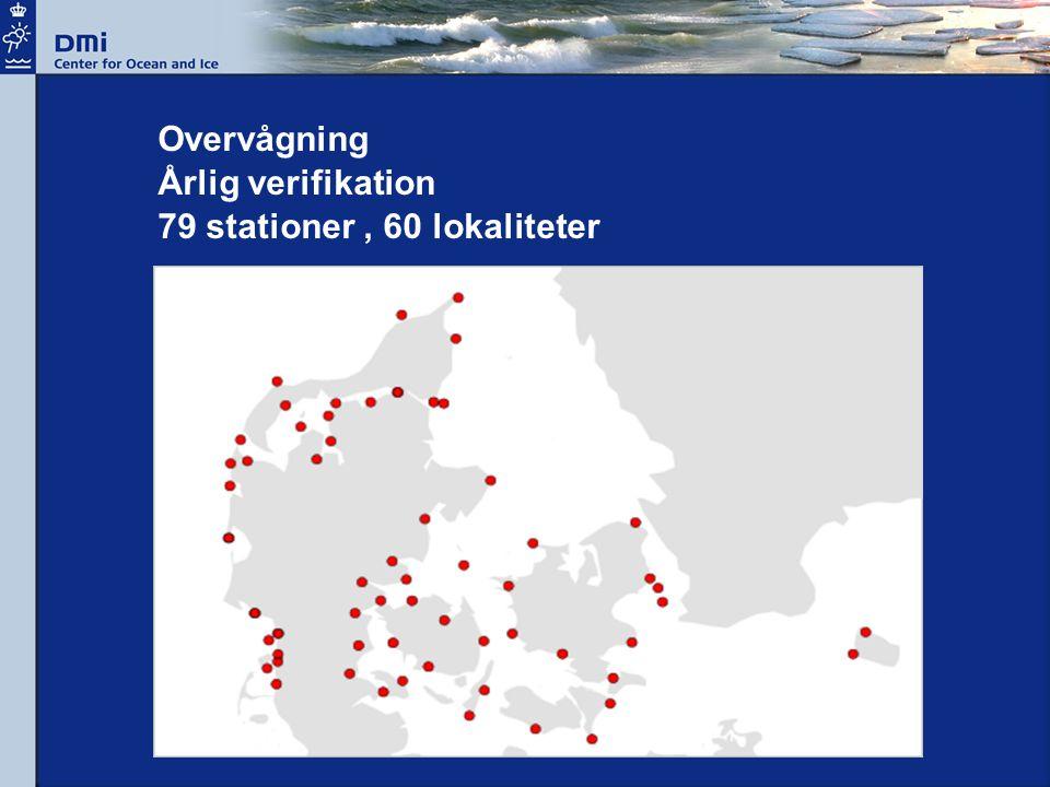 Overvågning Årlig verifikation 79 stationer, 60 lokaliteter