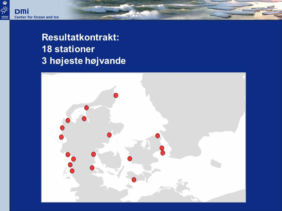 Resultatkontrakt: 18 stationer 3 højeste højvande