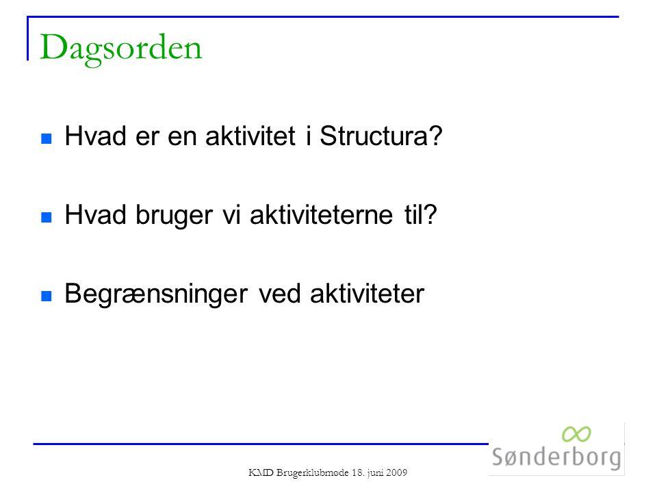 KMD Brugerklubmøde 18. juni 2009 Dagsorden Hvad er en aktivitet i Structura.