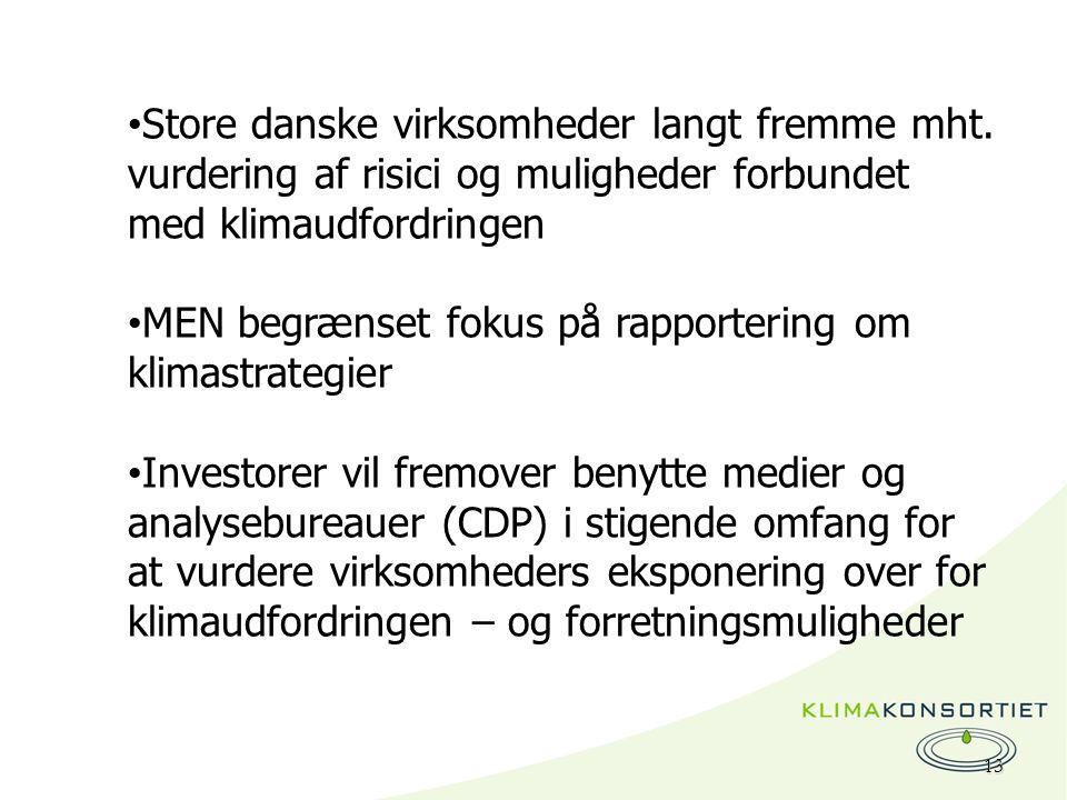 13 Store danske virksomheder langt fremme mht.