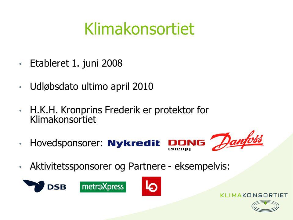 Klimakonsortiet Etableret 1. juni 2008 Udløbsdato ultimo april 2010 H.K.H.