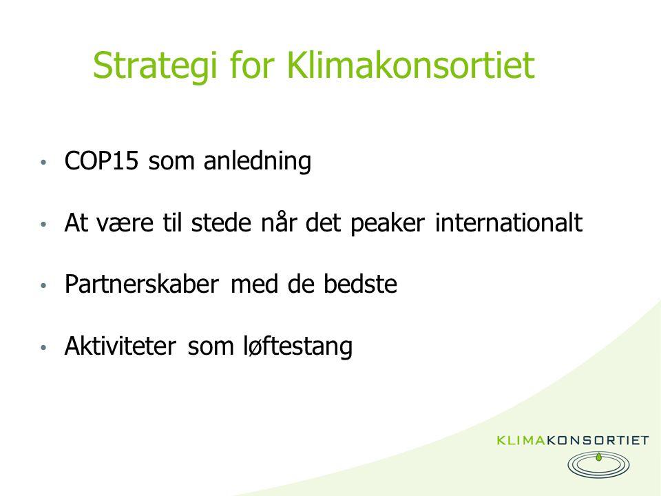 Strategi for Klimakonsortiet COP15 som anledning At være til stede når det peaker internationalt Partnerskaber med de bedste Aktiviteter som løftestang