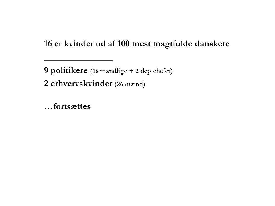 16 er kvinder ud af 100 mest magtfulde danskere _______________ 9 politikere (18 mandlige + 2 dep chefer) 2 erhvervskvinder (26 mænd) …fortsættes