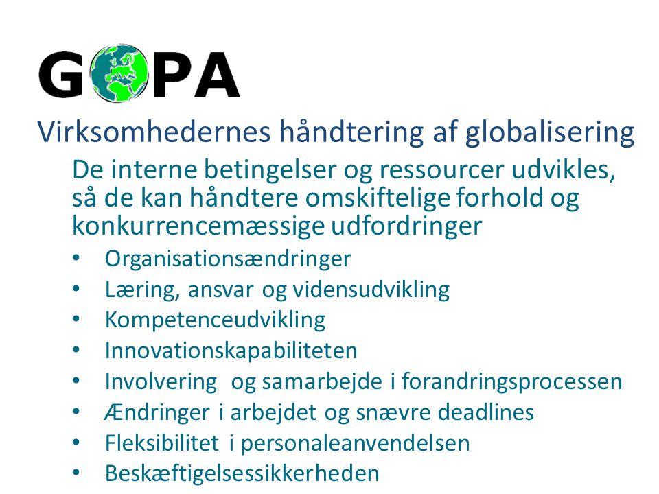 Virksomhedernes håndtering af globalisering De interne betingelser og ressourcer udvikles, så de kan håndtere omskiftelige forhold og konkurrencemæssige udfordringer Organisationsændringer Læring, ansvar og vidensudvikling Kompetenceudvikling Innovationskapabiliteten Involvering og samarbejde i forandringsprocessen Ændringer i arbejdet og snævre deadlines Fleksibilitet i personaleanvendelsen Beskæftigelsessikkerheden