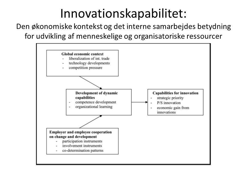Innovationskapabilitet: Den økonomiske kontekst og det interne samarbejdes betydning for udvikling af menneskelige og organisatoriske ressourcer
