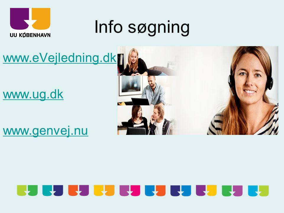 Info søgning www.eVejledning.dk www.ug.dk www.genvej.nu
