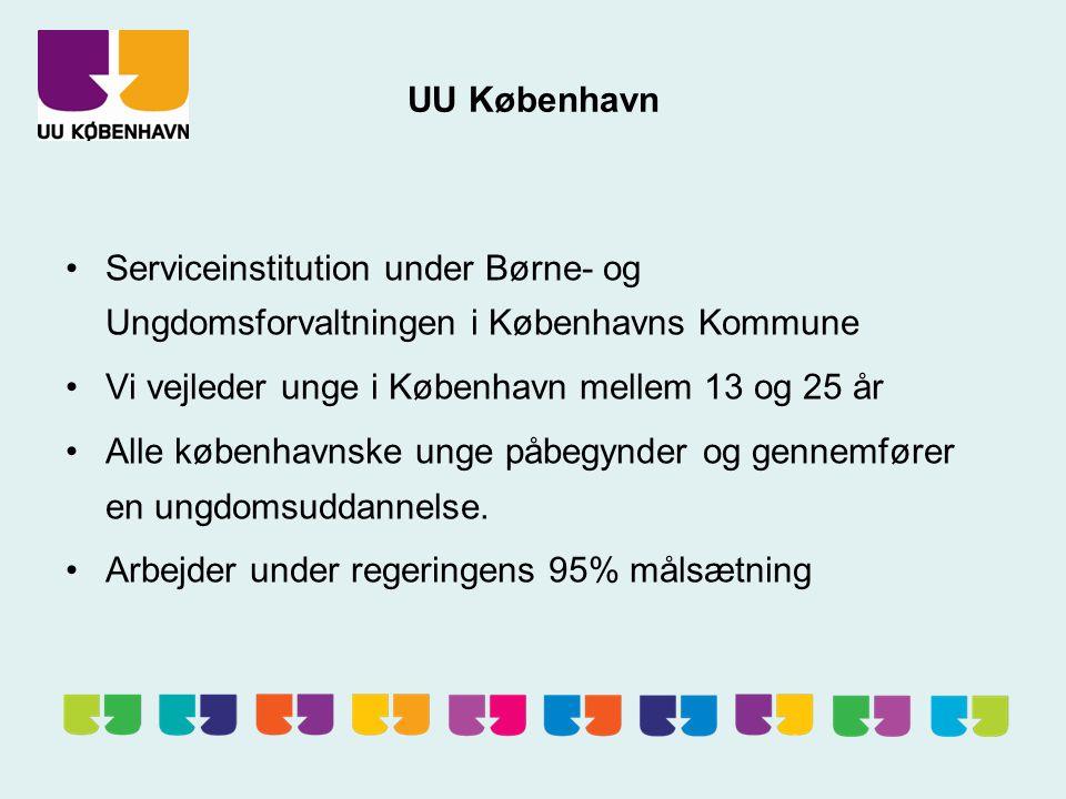 UU København Serviceinstitution under Børne- og Ungdomsforvaltningen i Københavns Kommune Vi vejleder unge i København mellem 13 og 25 år Alle københavnske unge påbegynder og gennemfører en ungdomsuddannelse.