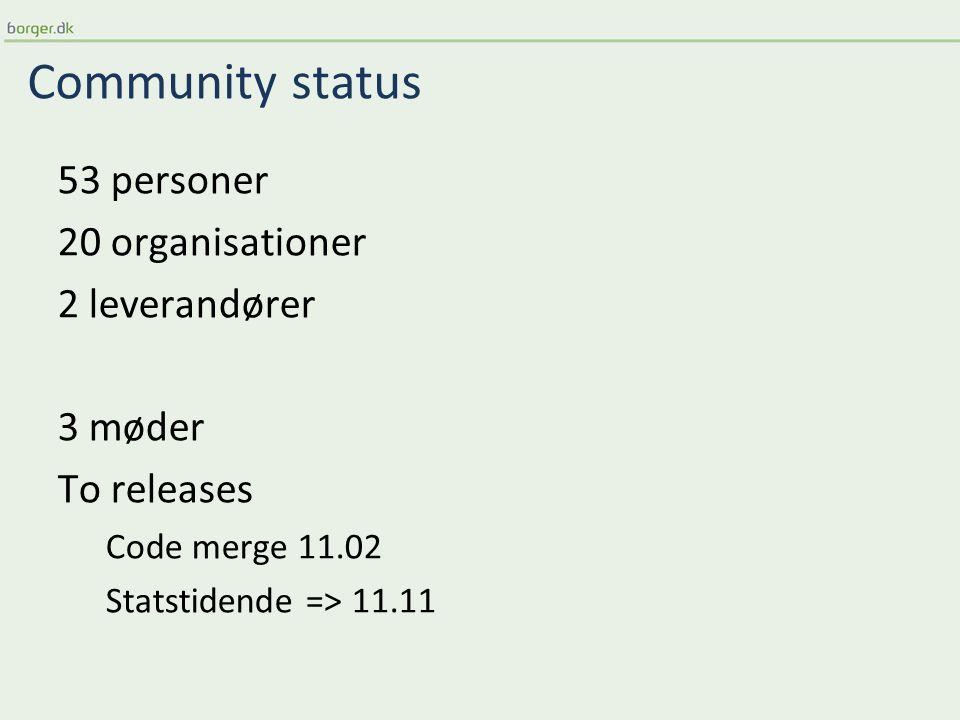 Community status 53 personer 20 organisationer 2 leverandører 3 møder To releases Code merge 11.02 Statstidende => 11.11