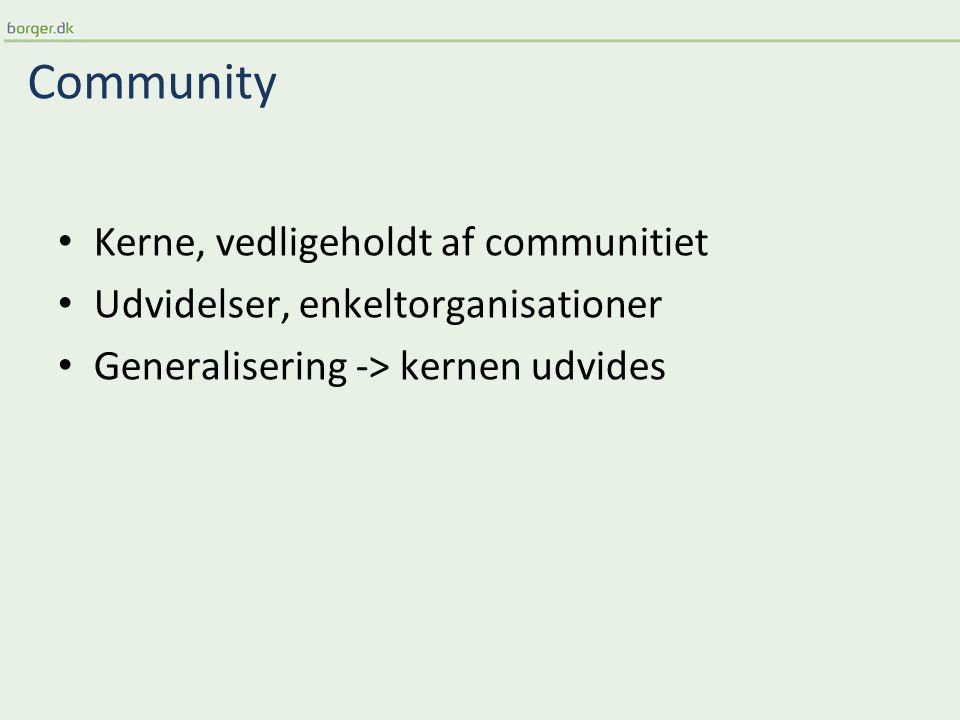 Community Kerne, vedligeholdt af communitiet Udvidelser, enkeltorganisationer Generalisering -> kernen udvides