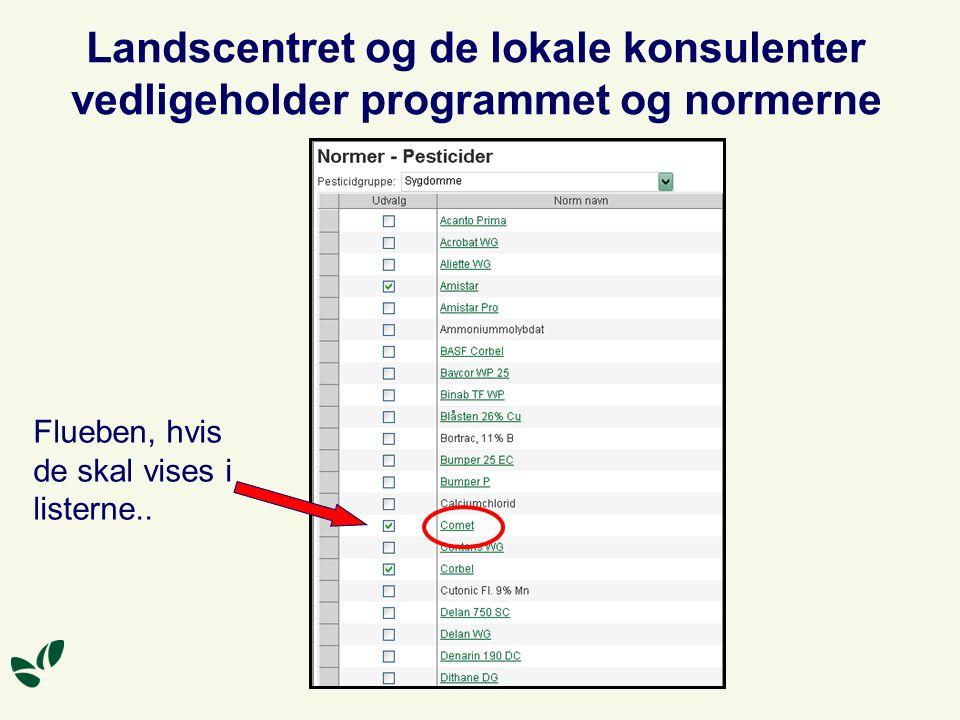 Landscentret og de lokale konsulenter vedligeholder programmet og normerne Flueben, hvis de skal vises i listerne..