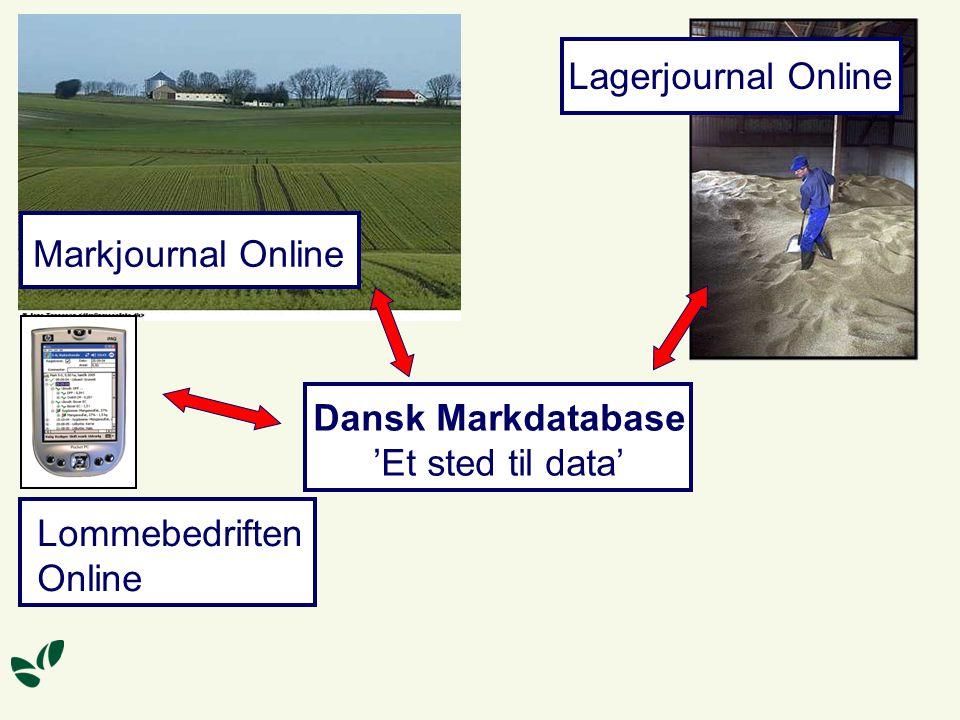 Dansk Markdatabase 'Et sted til data' Markjournal Online Lommebedriften Online Lagerjournal Online
