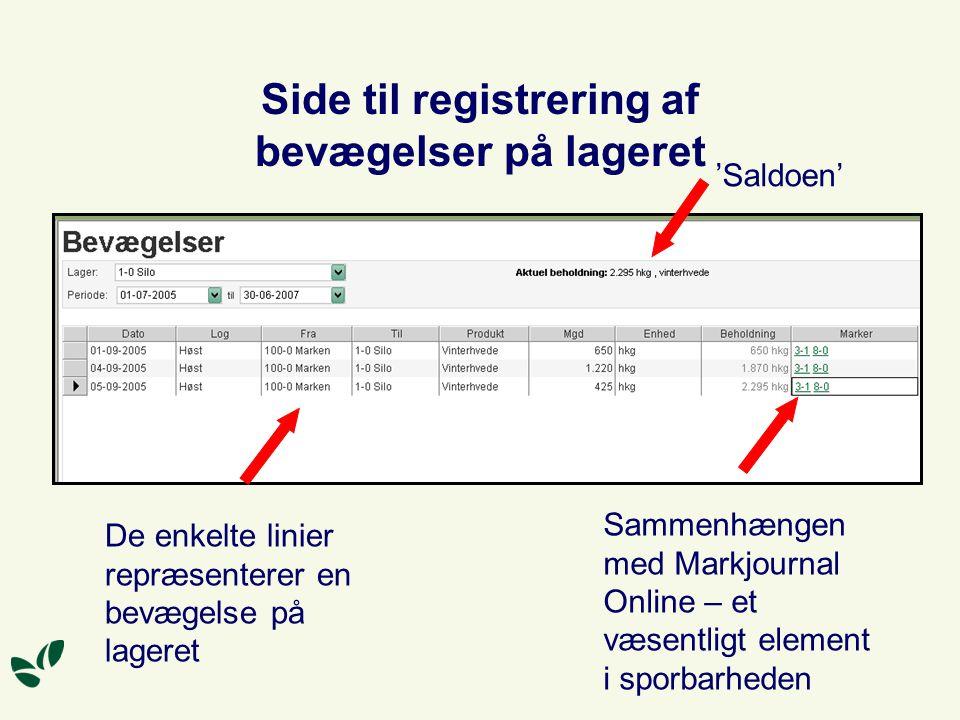 Side til registrering af bevægelser på lageret 'Saldoen' Sammenhængen med Markjournal Online – et væsentligt element i sporbarheden De enkelte linier repræsenterer en bevægelse på lageret