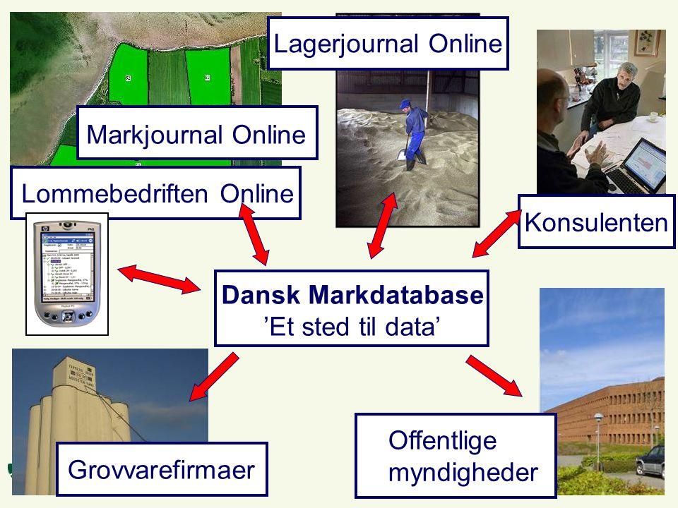 Dansk Markdatabase 'Et sted til data' Markjournal Online Lagerjournal Online Lommebedriften Online Offentlige myndigheder Grovvarefirmaer Konsulenten