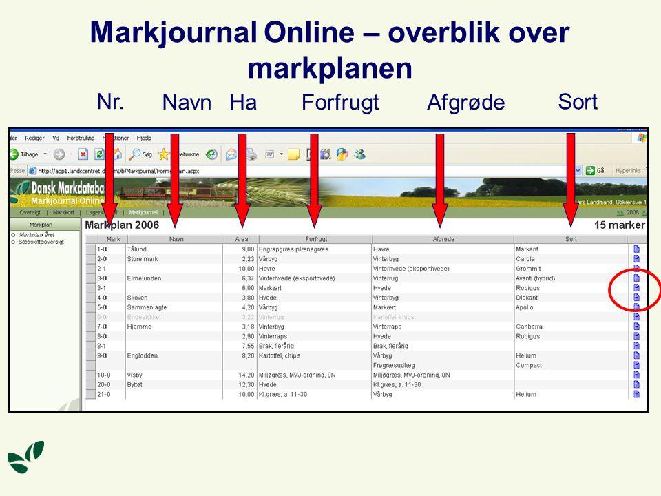 Markjournal Online – overblik over markplanen Nr. NavnHaForfrugtAfgrøde Sort