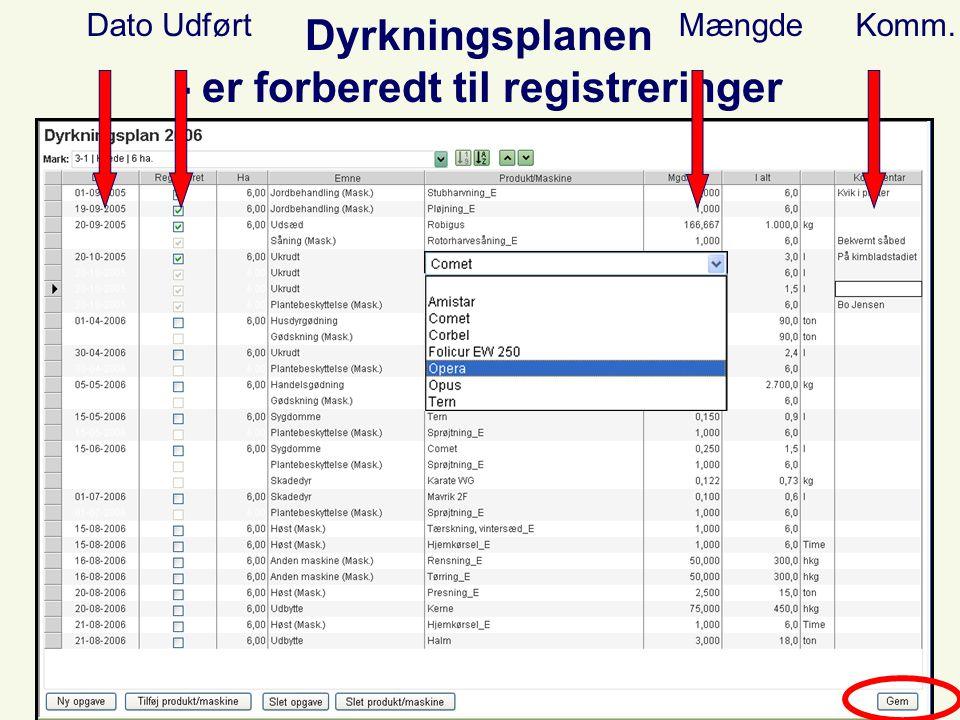 Dyrkningsplanen - er forberedt til registreringer DatoUdførtMængdeKomm.
