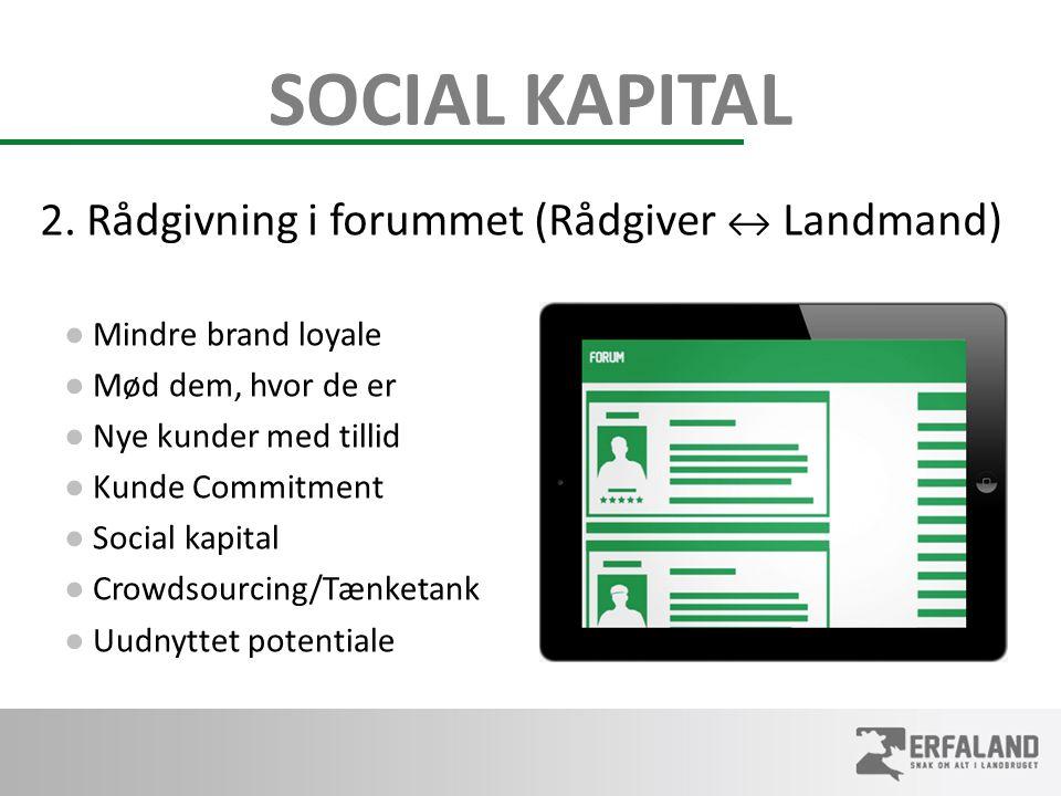 SOCIAL KAPITAL ● Mindre brand loyale ● Mød dem, hvor de er ● Nye kunder med tillid ● Kunde Commitment ● Social kapital ● Crowdsourcing/Tænketank ● Uudnyttet potentiale 2.