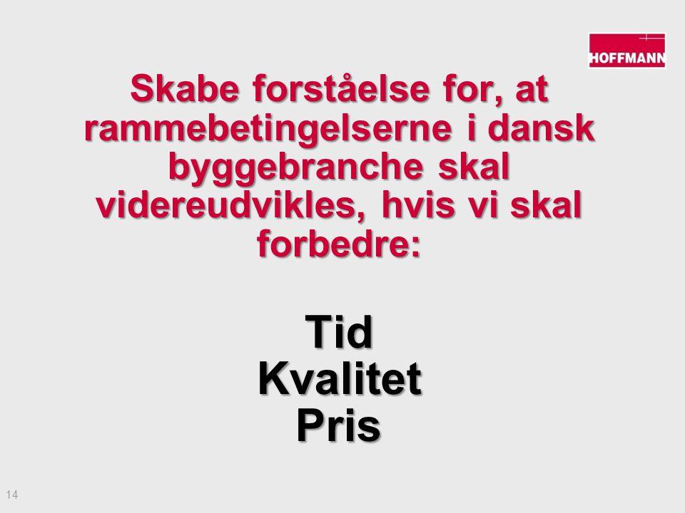 14 Skabe forståelse for, at rammebetingelserne i dansk byggebranche skal videreudvikles, hvis vi skal forbedre: TidKvalitetPris