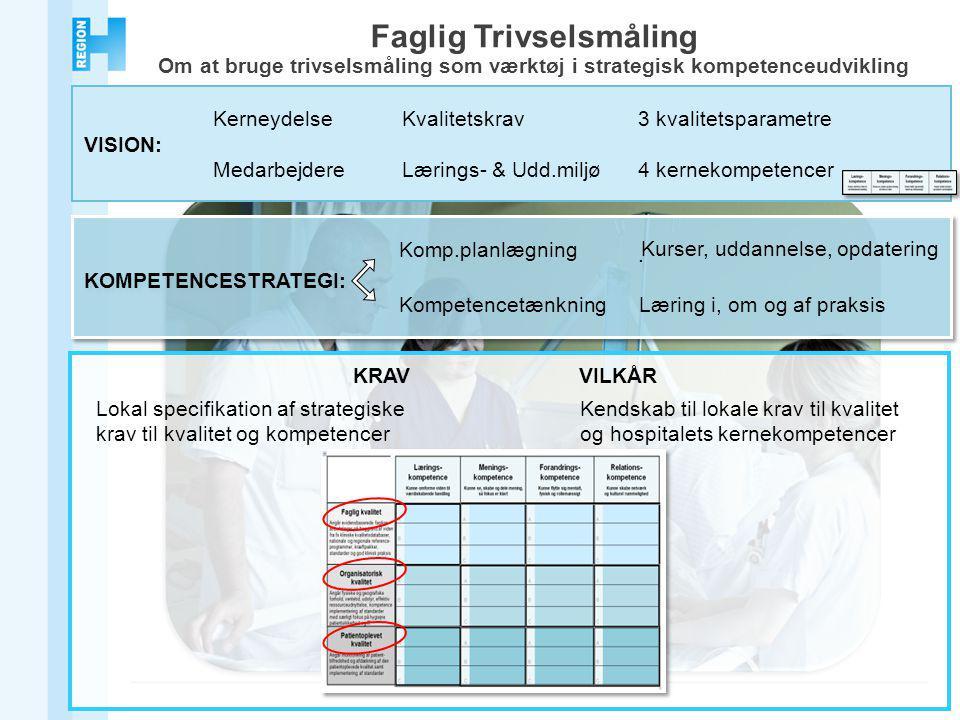 KerneydelseKvalitetskrav3 kvalitetsparametre VISION: MedarbejdereLærings- & Udd.miljø4 kernekompetencer Faglig Trivselsmåling Om at bruge trivselsmåling som værktøj i strategisk kompetenceudvikling.
