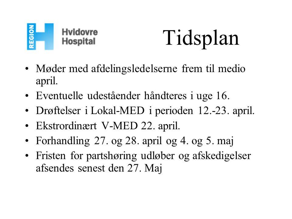 Tidsplan Møder med afdelingsledelserne frem til medio april.