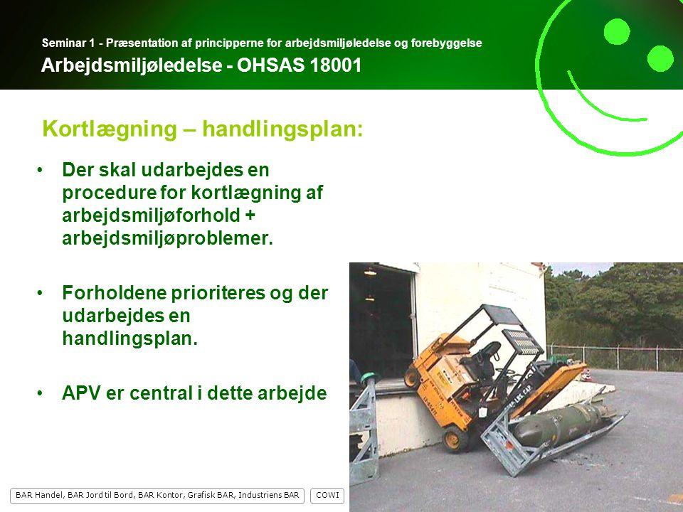 8 COWI BAR Handel, BAR Jord til Bord, BAR Kontor, Grafisk BAR, Industriens BAR 8 Seminar 1 - Præsentation af principperne for arbejdsmiljøledelse og forebyggelse Arbejdsmiljøledelse - OHSAS 18001 Der skal udarbejdes en procedure for kortlægning af arbejdsmiljøforhold + arbejdsmiljøproblemer.