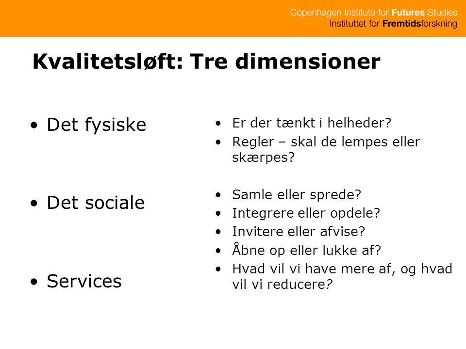 Kvalitetsløft: Tre dimensioner Det fysiske Det sociale Services Er der tænkt i helheder.