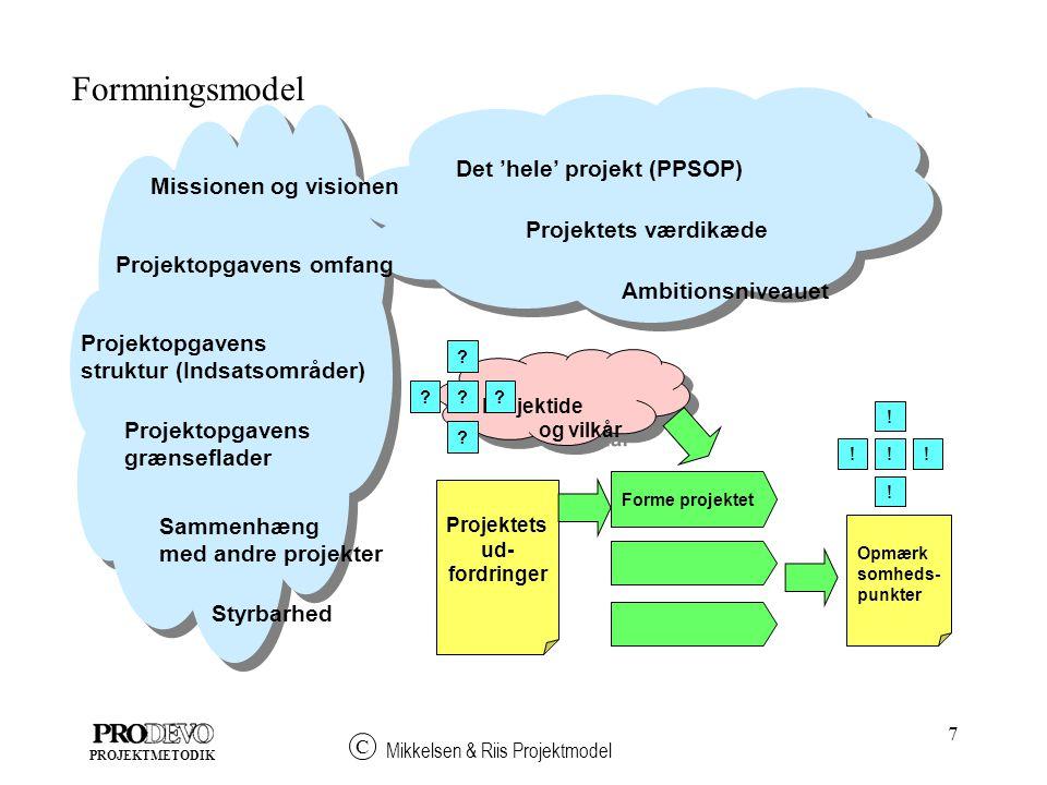 7 Mikkelsen & Riis Projektmodel C PROJEKTMETODIK Formningsmodel Forme projektet Opmærk somheds- punkter Projektide og vilkår Projektide og vilkår .