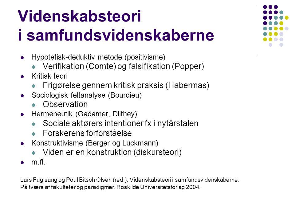 Videnskabsteori i samfundsvidenskaberne Hypotetisk-deduktiv metode (positivisme) Verifikation (Comte) og falsifikation (Popper) Kritisk teori Frigørelse gennem kritisk praksis (Habermas) Sociologisk feltanalyse (Bourdieu) Observation Hermeneutik (Gadamer, Dilthey) Sociale aktørers intentioner fx i nytårstalen Forskerens forforståelse Konstruktivisme (Berger og Luckmann) Viden er en konstruktion (diskursteori) m.fl.