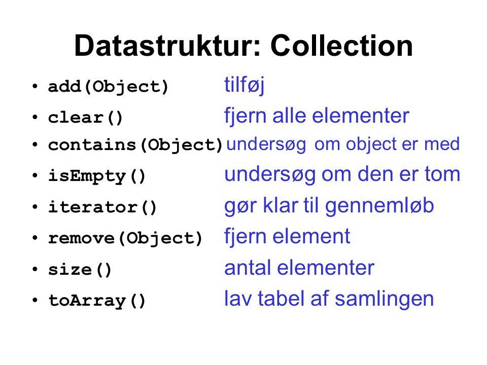 Datastruktur: Collection add(Object) tilføj clear() fjern alle elementer contains(Object) undersøg om object er med isEmpty() undersøg om den er tom iterator() gør klar til gennemløb remove(Object) fjern element size() antal elementer toArray() lav tabel af samlingen